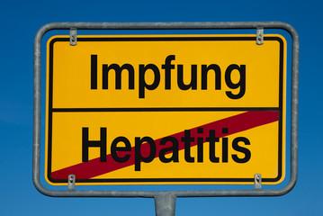 Ortswechsel Schild ohne Pfeil HEPATITIS - IMPFUNG