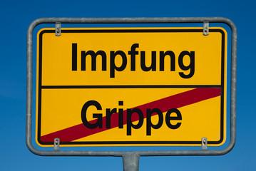 Wechselschild ohne Pfeil GRIPPE - IMPFUNG