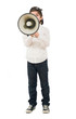 Portrait Of A Boy Shouting In Megaphone