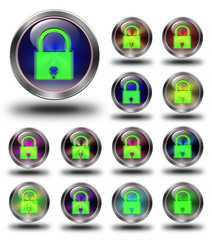 Security glossy icons, crazy colors