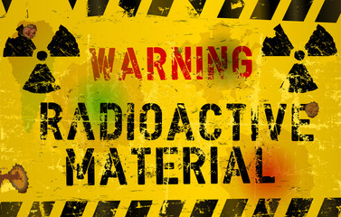 nuclear material o. radiation warning  sign, rotten and grungy,