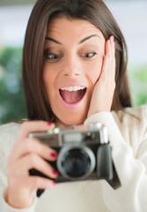 Surprised Woman Looking At Camera