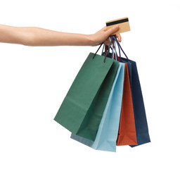 multi colored shopping bags and credit card
