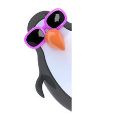 3d Plastic penguin peeps round the corner