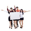 Success business team on white