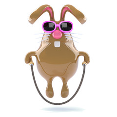Chocolate bunny skips for fun in her sunglasses