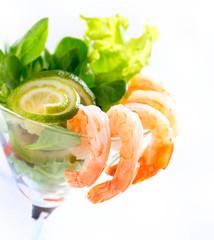 Shrimp or Prawn Cocktail. Isolated on White