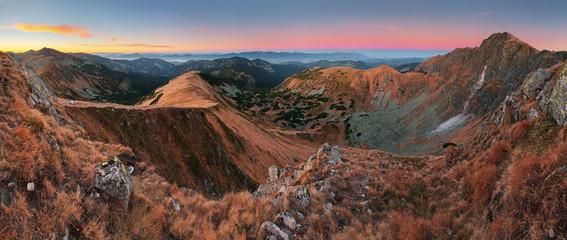 Panoramic view of Slovakia mountain at autumn - Low Tatras - Dum