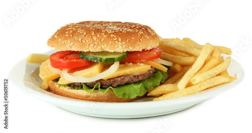 Tasty cheeseburger with fried potatoes, isolated on white