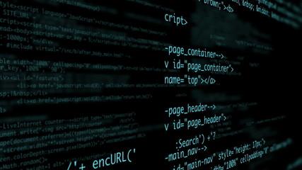 Html code on black background