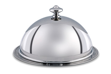 Silver Dome or Cloche isolated with clipping path.