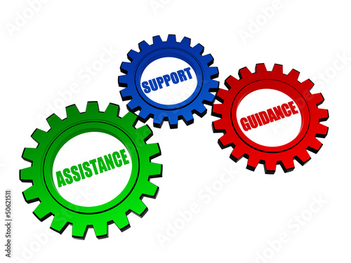 assistance, support, guidance in color gearwheels