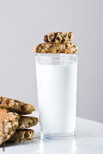 glass of milk with home made cookies