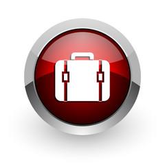 baggage red circle web glossy icon