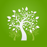 Abstract vector trees on green background