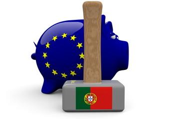 Sparschwein in EU Farben mit Hammer und Portugalflagge