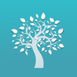 Abstract vector tree on blue background