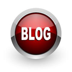 blog red circle web glossy icon