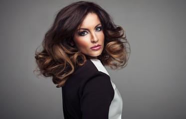 Beautiful sexy girl with long Hair. Perfect Makeup