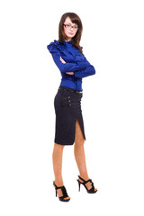 cheerful business woman in casual clothing