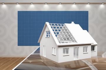 Modellhaus Einfamilienhaus vor Blaupapier
