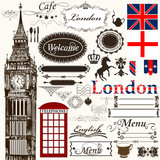 Calligraphic design elements and page decorations London theme