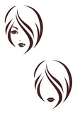 Hair stile icon, the girl's face