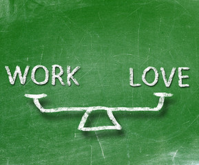 Balance of work and love on blackboard