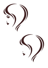 Hair stile icon, woman's profile, haircut