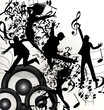 Conceptual music background with jumping silhouettes and notes