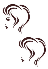 Hair stile icon, Female profile with short hair