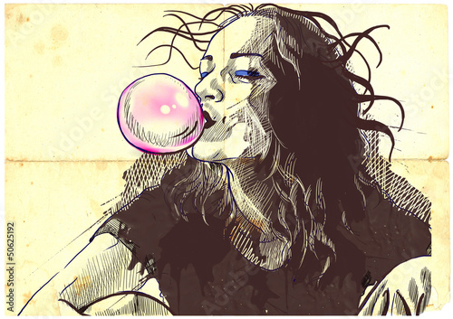 Fototapeta young woman blowing bubble from chewing gum