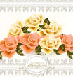 Invitation wedding card with beige and pink soft roses flowers
