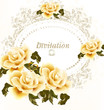 Invitation wedding card with beige roses flowers