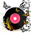 Abstract music background with vinyl record, notes and butterfli