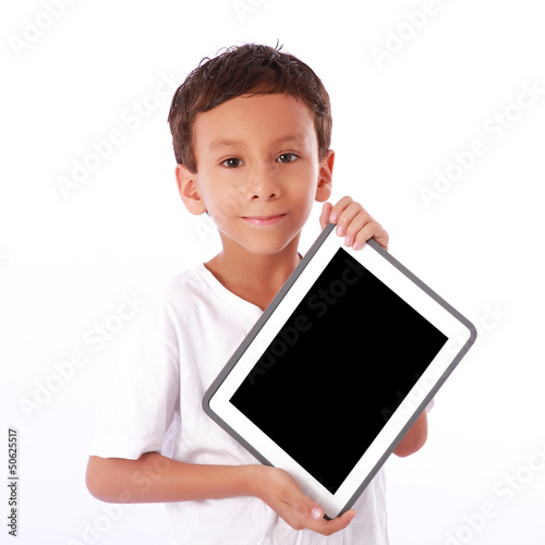 Boy showing a  tablet