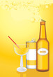 Cocktail, drink and beer bottle on the yellow background