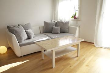 Wohnung mit Sofa und Tisch im Wohnzimmer