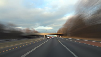 Driving on I-66 in Virginia