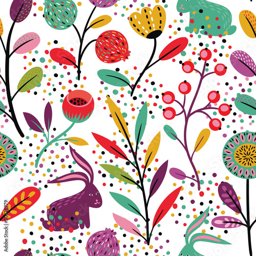 Materiał do szycia Seamless pattern with rabbits