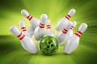 Bowling Strike Strahlenhintergrund grün