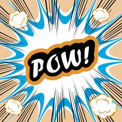 Comic book background POW! concept or conceptual cute POW text o