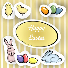 Happy Easter card with stikers