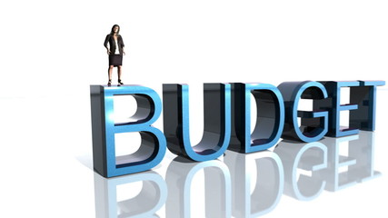 Business Woman stands on Budget Text