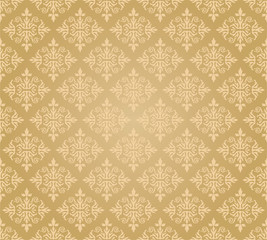 Seamless golden floral wallpaper diamond pattern