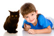 kid and black cat. isolated on white