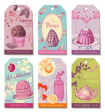 Fototapety set of 6 colorful food-themed tags