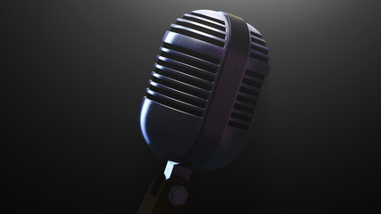 Retro Microphone spun around under a single light