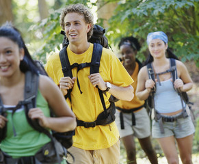 Young adults hiking
