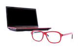 glasses and laptop